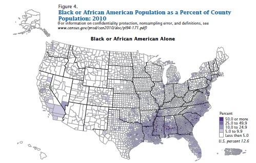 black or african american as percent of county population