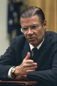 Robert McNamara at a cabinet meeting